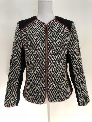 H&M Blazer Jacke Tweed schwarz weiß rot Muster gemustert