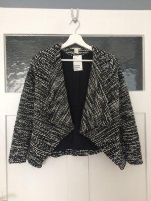 H&M Blazer Jacket Jacke Weste Schwarz Weiß Meliert Wolle XS 34 NEU
