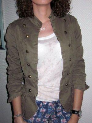 H&M Blazer Longjacke Long Jacke Knöpfe Utility Military khaki grün 34 36 XS S