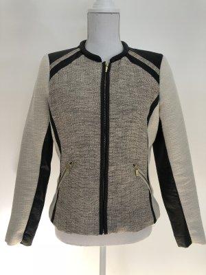 H&M Blazer Materialmix Leder schwarz Stoff beige meliert Tweed