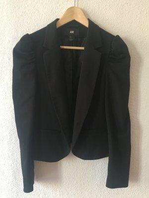 H&M - Blazer mit Puffärmeln im 80er Jahre Stil - schwarz - M