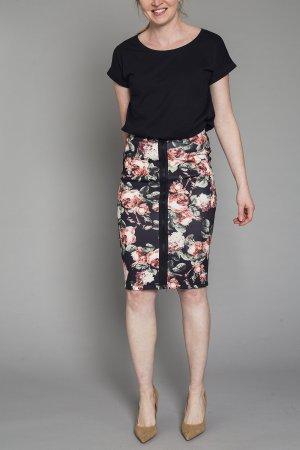 H&M Bleistift Rock Blumen Flower Reißverschluss Stretch sexy XS 34 High Waist Trend
