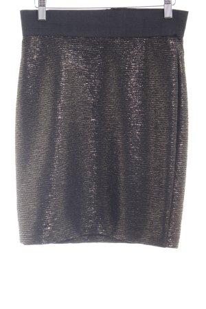 H&M Bleistiftrock goldfarben-schwarz abstraktes Muster Casual-Look