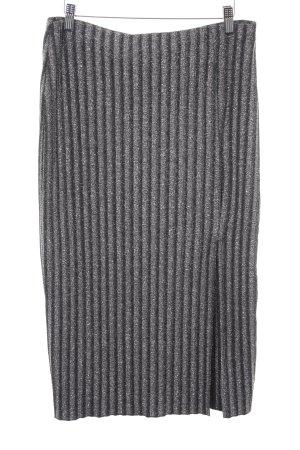 H&M Bleistiftrock schwarz-silberfarben Streifenmuster Casual-Look