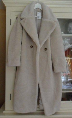 H&M Abrigo de piel sintética blanco puro piel artificial