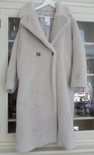 H&M Blogger Liebling Mantel,oversize, Fake Fur hellbeige Creme Weiß Gr.42,44 NEU
