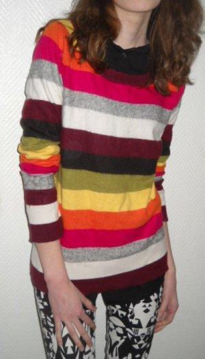 H&M Blogger Pulli Pullover Streifen bunt gestreift Angora XS S M 34 36 38