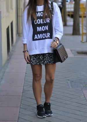 H&m Blogger Sweatshirt weiß/schwarz MON COUER L/42 oversize acne