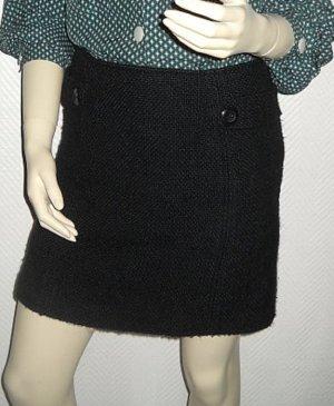 H&M Blogger Winter Tweed kurzer Rock hüftig m. Wolle schwarz Hüftrock 34 36 XS S