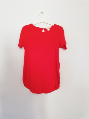 H&M Short Sleeved Blouse red-brick red