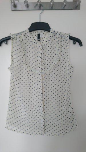 H&M Blusa sin mangas beige claro-azul oscuro Poliéster