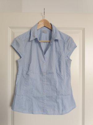 1.2.3 Paris Mouwloze blouse wit-lichtblauw