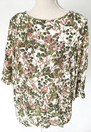 H & M Bluse 38 M geblümt grün khaki Viskose Sommer