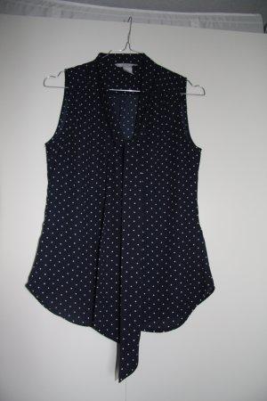 H&M Bluse ärmellos mit Schluppe gepunktet blau weiß Gr. 34