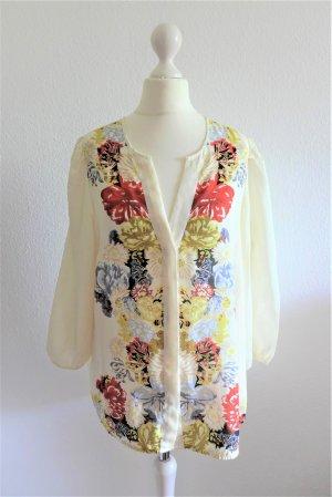 H&M Bluse Boho Langarm Blume Blüte beige Gr, 40/42 L