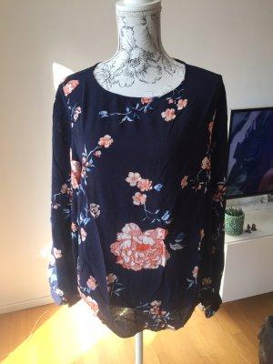 H&M Bluse dunkelblau mit Blumen Gr 46