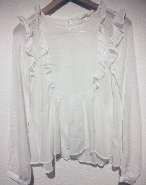 H&M Blusa con volantes blanco
