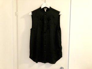 H&M Bluse Gr. 34 / XS schwarz Satin ärmellos sexy top