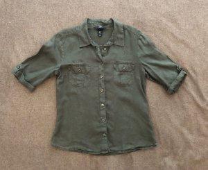 H&M Blusa de lino gris verdoso