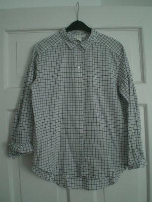 H&M Chemise à manches longues blanc-gris foncé coton
