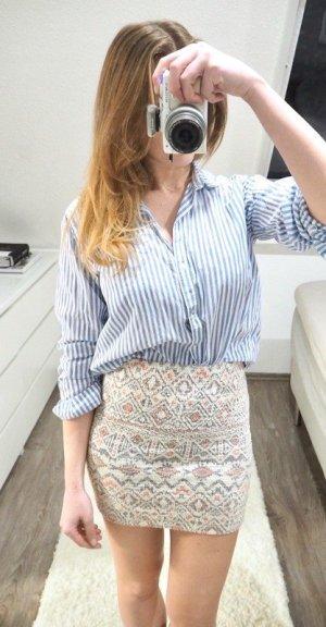 H&M Blusa-camisa blanco-azul claro