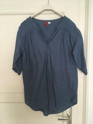 H&M Denim Blouse blue-slate-gray