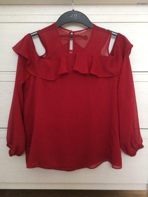 H&M Bluse Hemd Shirt Top Croptop Body Offshoulder Cut Outs Rot Bordeaux XS 34 Neu