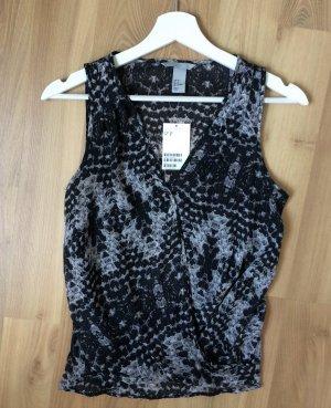 H&M Bluse Hemd Shirt Top Croptop Body Offshoulder Schwarz Weiß Grau XS 34 Neu