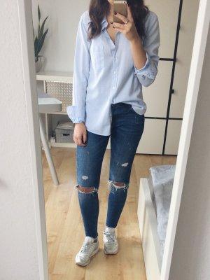 H&M Bluse Hemdbluse Hemd oversized Streifen hellblau weiß Gr. 38