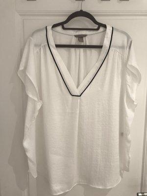 H&M Bluse in weiß mit kurzen Ärmeln in Größe 52