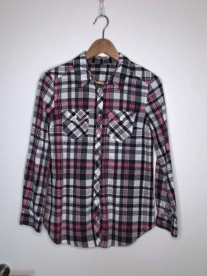 H&M Bluse kariert schwarz weiß pink