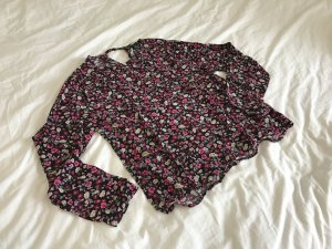 H&M Bluse langärmlig aus Viskose mit blumenprint 38 pink schwarz Blumenmuster