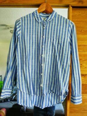 H&M Blouse en lin blanc-bleu fluo