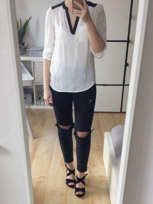H&M Bluse mit 3/4 Arm creme schwarz