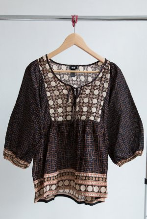 H&M Bluse mit Muster schwarz/braun