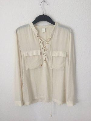 H&M Bluse mit Schnürung Creme