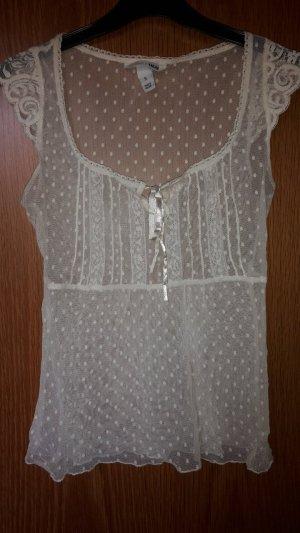 H&M Bluse mit Spitze in weiß beige mit Schleife und Ärmelchen in S 36