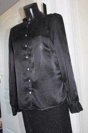 H & M Bluse mit Stehkragen schwarz Seide wie neu tailliert 40-42