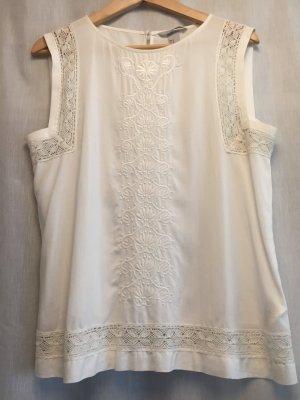 H&M Mouwloze blouse wolwit Gemengd weefsel