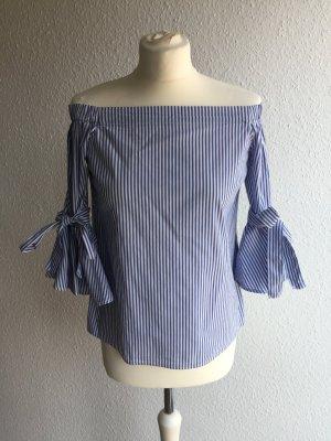H&M Carmen blouse staalblauw