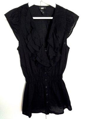 H&M Bluse, ohne Arm, Rüschen, schwarz, Gr. S