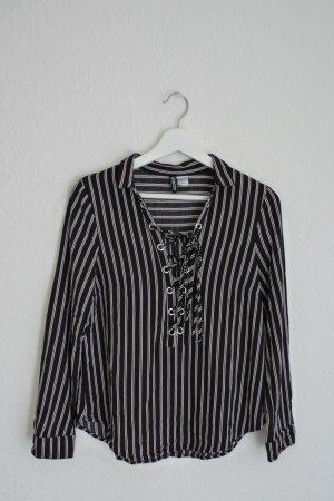 H&M Bluse S M 38 schwarz weiß gestreift Blogger Fashion Style Business chic elegant sexy