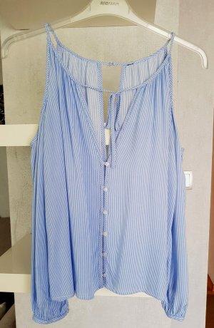 H&M Blusa tipo Carmen blanco-azul celeste