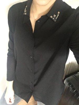 H&M Bluse schwarz Gr. XS mit Schmucksteinen am Kragen