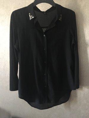H&M Blouse longue noir-argenté