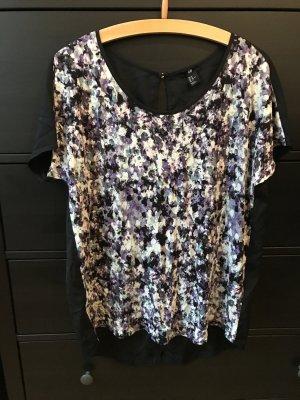 H&M Bluse schwarz lila M 38 mit Rückenausschnitt