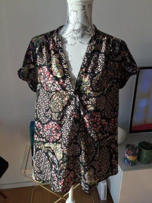 H&M+ Bluse schwarz mit Blumen Gr 44 wie neu