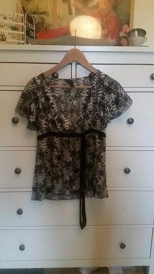 H&M Bluse schwarz-weiß mit Samtbordüre