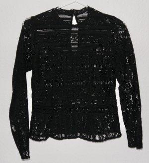 H&M Bluse Spitze Mockneck Schwarz XS 34