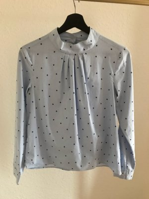 H&M Stand-Up Collar Blouse pale blue